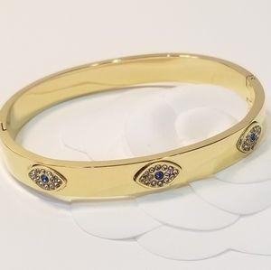 18K Gold Evil Eye Bracelet Bangle Cuff NEW